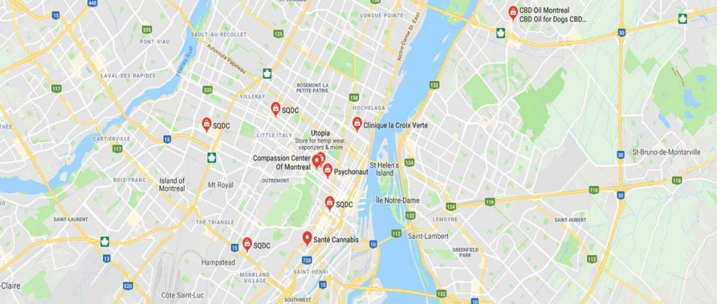 Map of where to buy CBD oil in Montreal, Quebec, Canada.