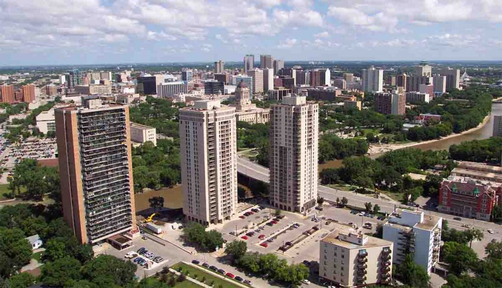 Winnipeg in Manitoba, Canada city skyline.